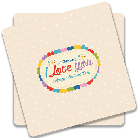14 Feb I Love You Valentine Day Coaster (Set of 2)