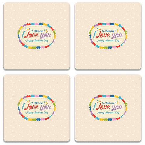 14 Feb I Love You Valentine Day Coaster (Set of 4)