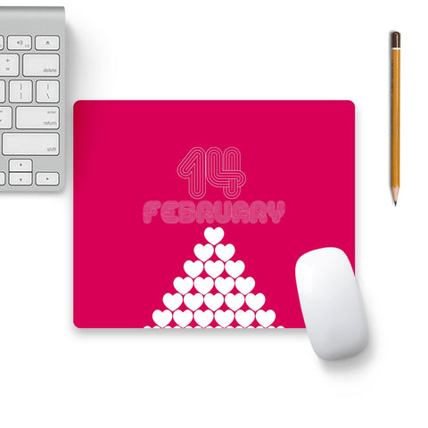 14 February Heart Stack Mouse Pad Black Base | Artist: Designer Chennai