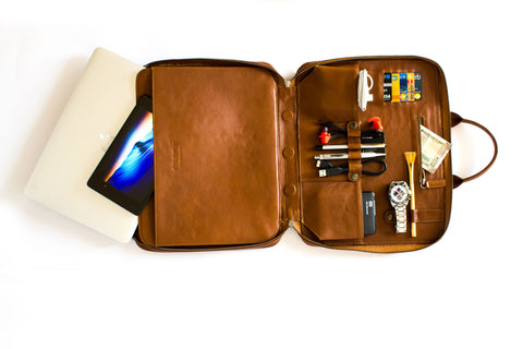 Colorpur Laptop Bag and Organizer - Tan Brown 100% Genuine Leather