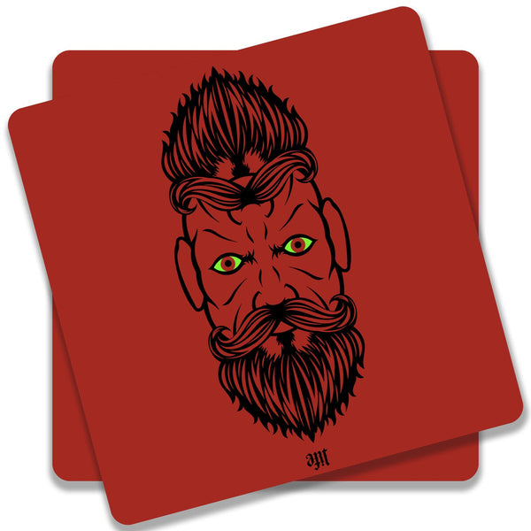 2 Beardiful On Red Coaster (Set of 2)