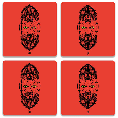 2 Beardiful On Red Coaster (Set of 4)