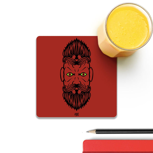 2 Beardiful On Red Coaster