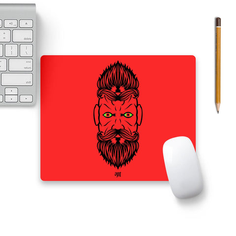 2 Beardiful On Red Mouse Pad Black Base | Artist: Life Art