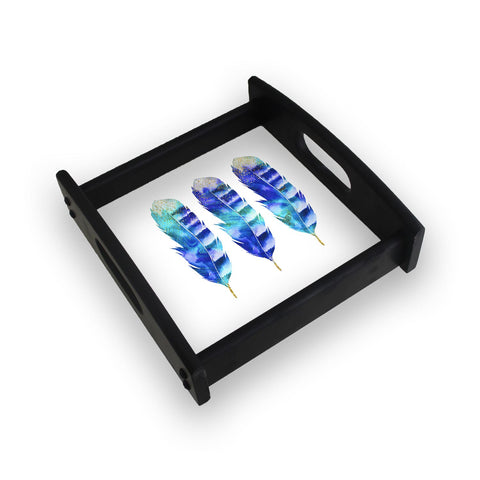 3 Blue Flowers Square Wooden Serving Tray (Ebony)