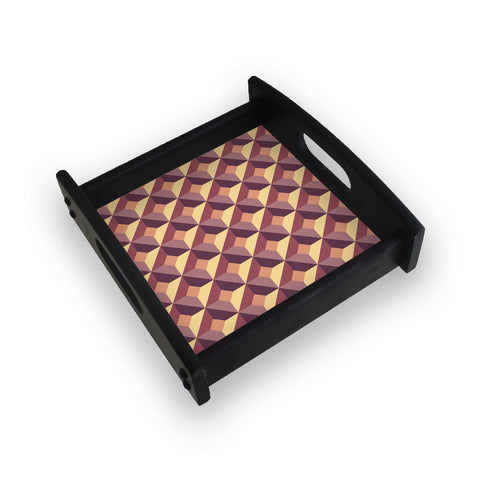3D Abstract Design Square Wooden Serving Tray (Ebony)
