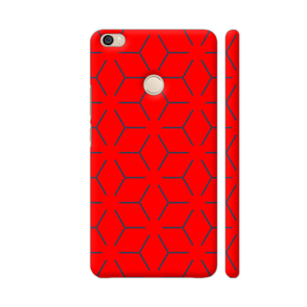 Abstract Black Lines On Red Xiaomi Mi Max Cover | Artist: KARAN