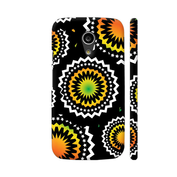 Abstract Circles Or Mechanical Gears In Yellow Orange Moto G2 Cover | Artist: Urvashi