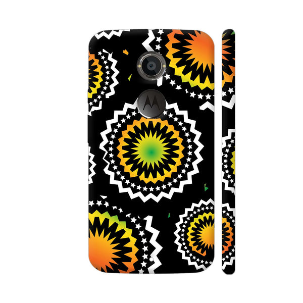 Abstract Circles Or Mechanical Gears In Yellow Orange Moto X2 Cover | Artist: Urvashi