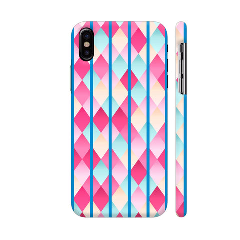 Abstract Diamond Geometric Pattern With Blue Lines iPhone X Cover | Artist: Mita