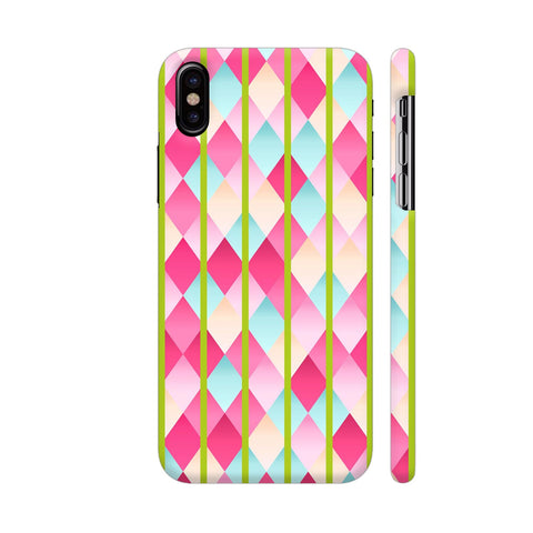 Abstract Diamond Geometric Pattern With Green Lines iPhone X Cover | Artist: Mita