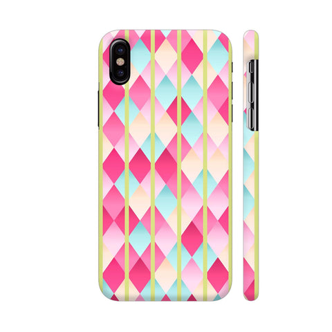 Abstract Diamond Geometric Pattern With Pastel Green Lines iPhone X Cover | Artist: Mita