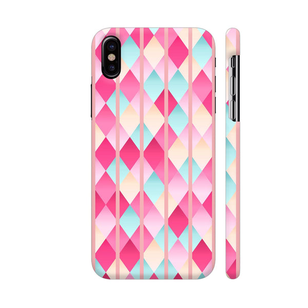 Abstract Diamond Geometric Pattern With Pastel Pink Lines iPhone X Cover | Artist: Mita
