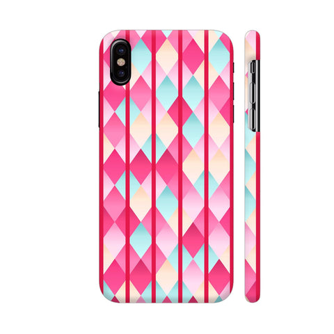 Abstract Diamond Geometric Pattern With Pink Lines iPhone X Cover | Artist: Mita