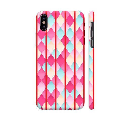 Abstract Diamond Geometric Pattern With Red Lines iPhone X Cover | Artist: Mita