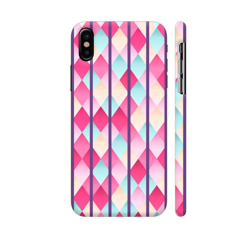 Abstract Diamond Geometric Pattern With Violet Lines iPhone X Cover | Artist: Mita