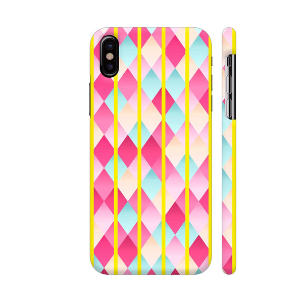 Abstract Diamond Geometric Pattern With Yellow Lines iPhone X Cover | Artist: Mita
