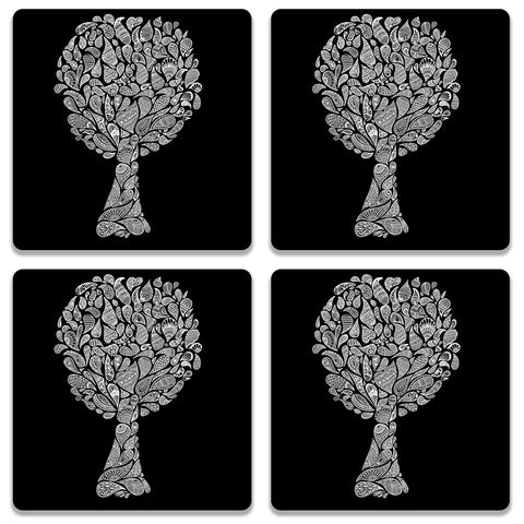 Abstract Tree In Black Coaster (Set of 4)