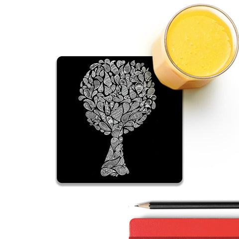 Abstract Tree In Black Coaster