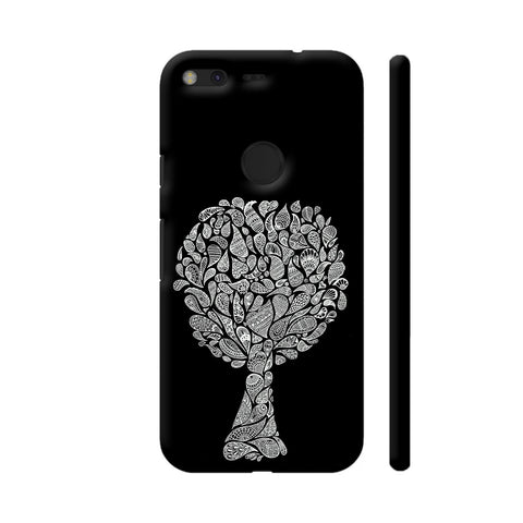 Abstract Tree In Black Google Pixel Cover | Artist: Dharanisr