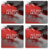 All Men Must Die Wooden Square Coaster (Set of 2) | Artist: Abhinav