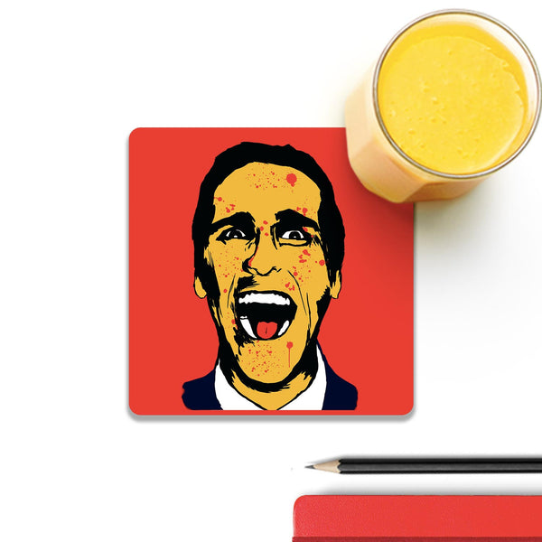 American Psycho On Red Coaster (Set of 4) | Artist: Kaushal Faujdar
