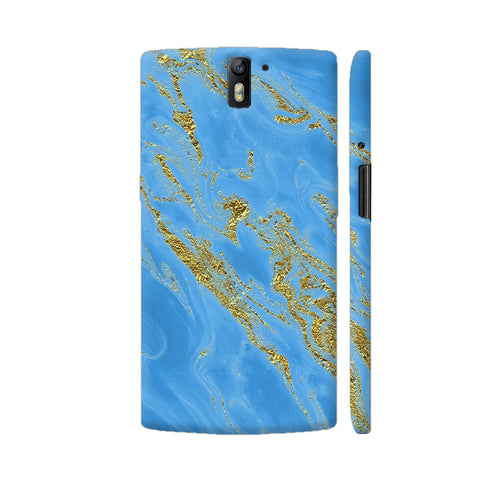 Aqua Blue And Gold Marble OnePlus One Case