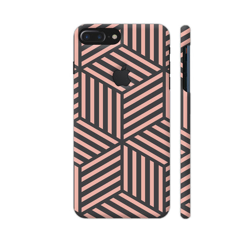 Ash And Pink Stripes iPhone 7 Plus Logo Cut Cover | Artist: Adeela Abdul Razak