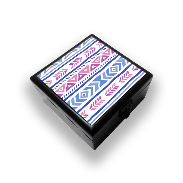 Aztec Pink Blue Jewellery Box