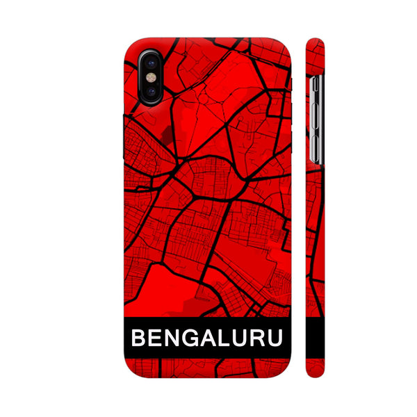 Bangalore Map In Red iPhone X Cover | Artist: Kiran Maurya