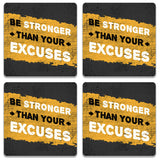 Be Stronger Than Your Excuses Wooden Square Coaster (Set of 2) | Artist: Abhinav