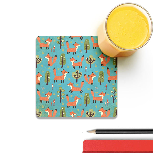 Beautiful Fox Wild Forest Pattern 3 Coaster
