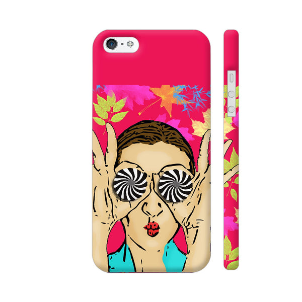 Beautiful Girl On Multicolor Flower Pattern iPhone SE Cover | Artist: Sangeetha