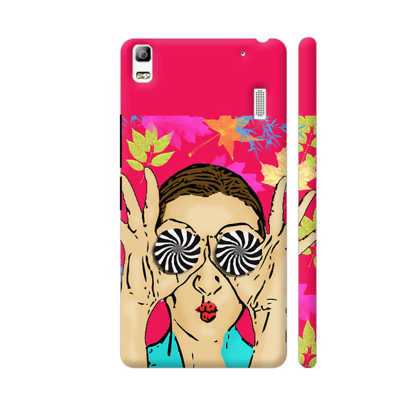 Beautiful Girl On Multicolor Flower Pattern Lenovo A7000 Cover | Artist: Sangeetha