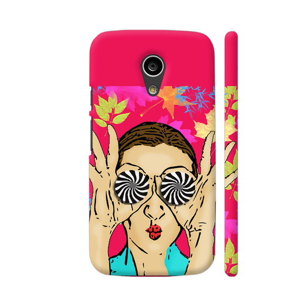 Beautiful Girl On Multicolor Flower Pattern Moto G2 Cover | Artist: Sangeetha