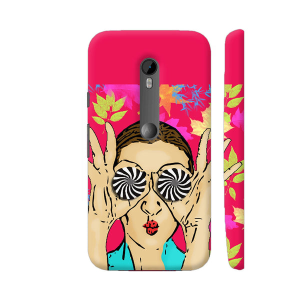 Beautiful Girl On Multicolor Flower Pattern Moto G Turbo Cover | Artist: Sangeetha