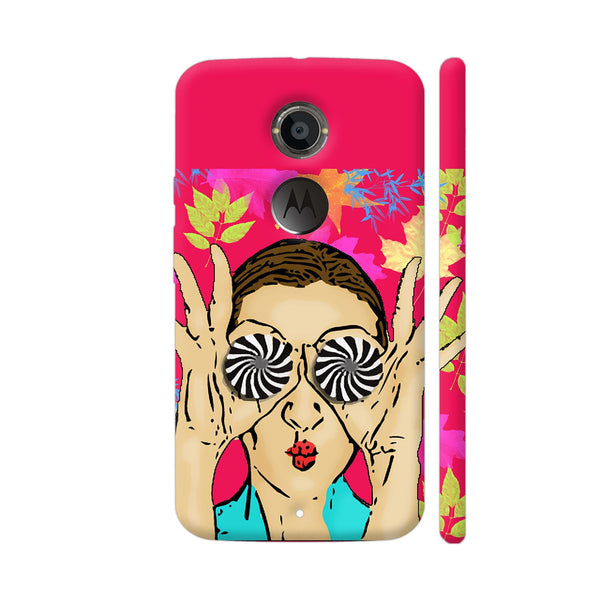 Beautiful Girl On Multicolor Flower Pattern Moto X2 Cover | Artist: Sangeetha