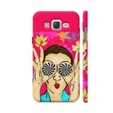 Beautiful Girl On Multicolor Flower Pattern Samsung Galaxy J2 (Old) Cover | Artist: Sangeetha