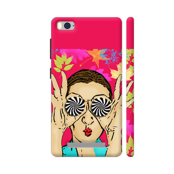 Beautiful Girl On Multicolor Flower Pattern Xiaomi Mi 4i Cover | Artist: Sangeetha