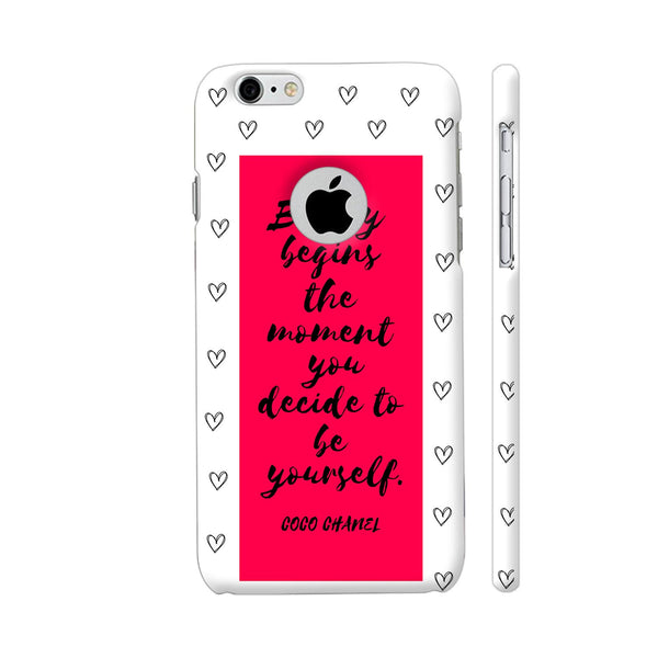 Beauty Quote By Coco Chanel On Red iPhone 6 / 6s Logo Cut Cover | Artist: Dolly P