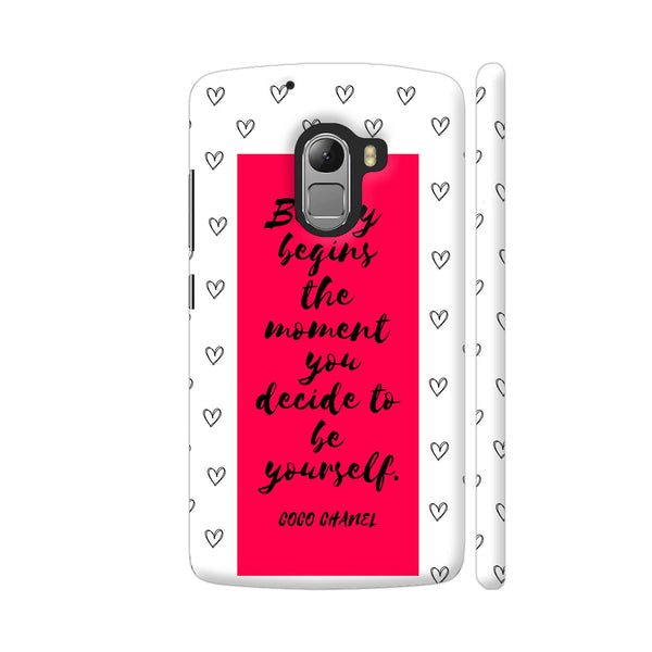 Beauty Quote By Coco Chanel On Red Lenovo K4 Note Cover | Artist: Dolly P