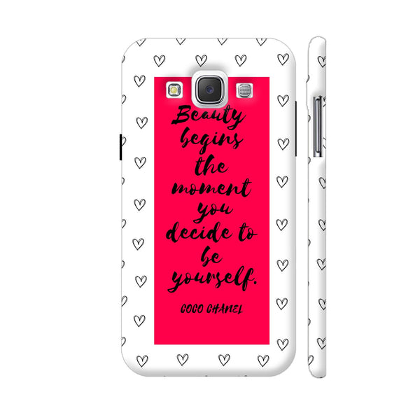 Beauty Quote By Coco Chanel On Red Samsung Galaxy E5 Case