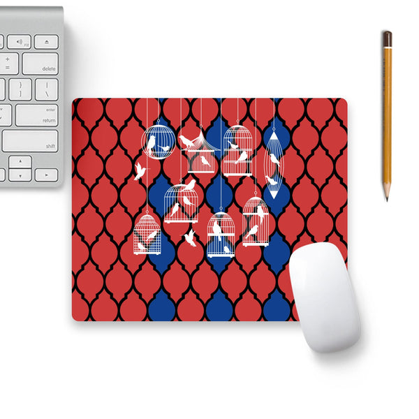 Birds By The Cage Mouse Pad Beige Base