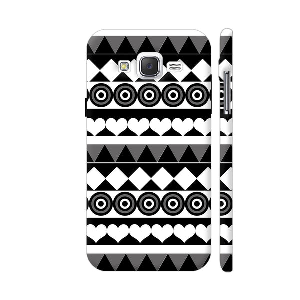 Black And White Aztec Pattern Samsung Galaxy J2 (Old) Cover | Artist: Sangeetha