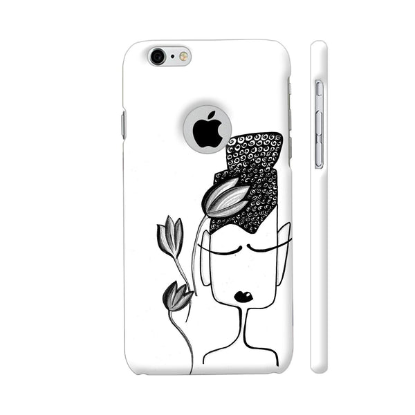 Black And White Modern Buddha iPhone 6 / 6s Logo Cut Cover | Artist: Woodle Doodle