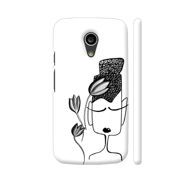 Black And White Modern Buddha Moto G2 Cover | Artist: Woodle Doodle