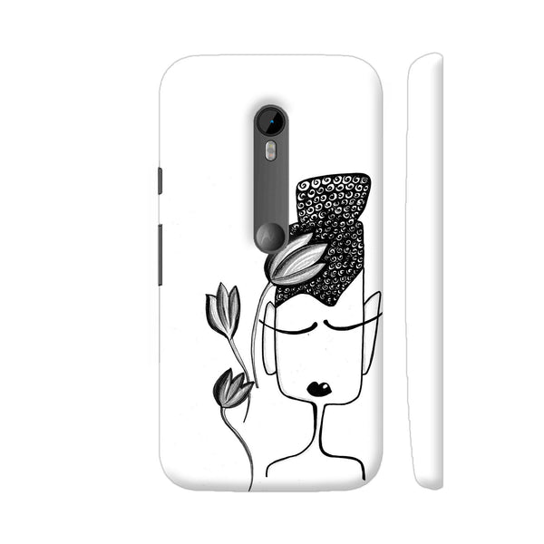 Black And White Modern Buddha Moto G Turbo Cover | Artist: Woodle Doodle