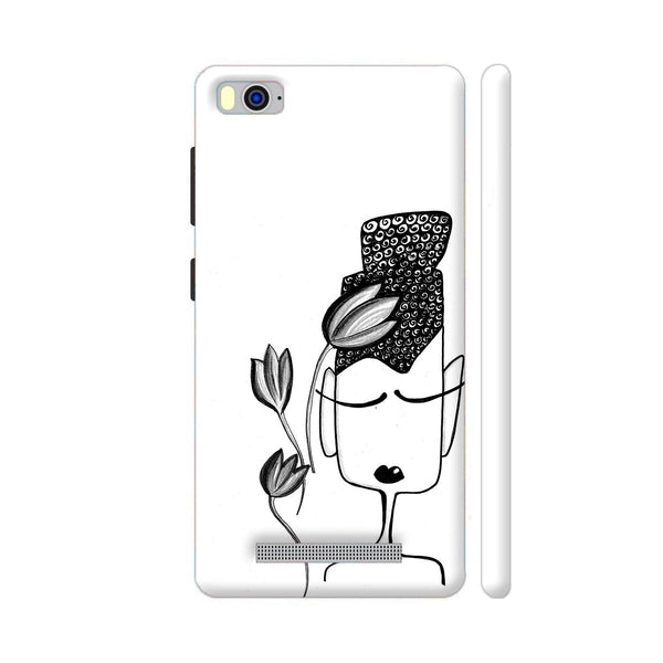 Black And White Modern Buddha Xiaomi Mi 4i Cover | Artist: Woodle Doodle