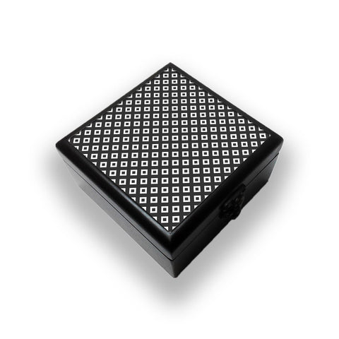 Black And White Square Diagonal Love Jewellery Box