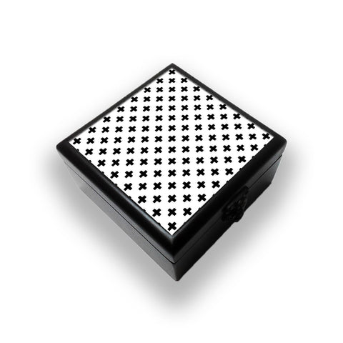 Black Plus Pattern Jewellery Box